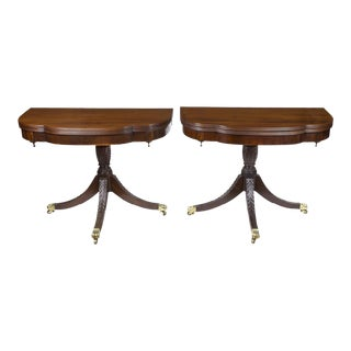 Pair of Classical Carved Trick Leg Tables