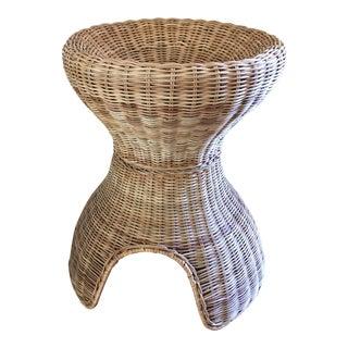 Boho Wood Wicker Side Table