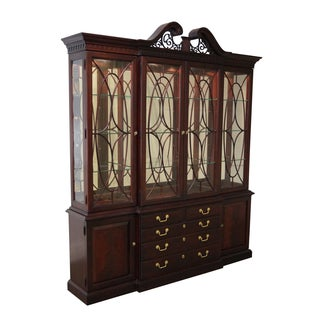 Stately Mahogany Breakfront Cabinet by Thomasville