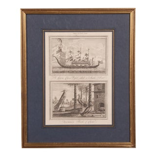 An antique black and white engraving of a fully fitted Chinese sailing ship within the original custom mounted frame from England c. 1890.