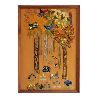 Erica Wilson Framed Ecology Embroidered Crewelwork
