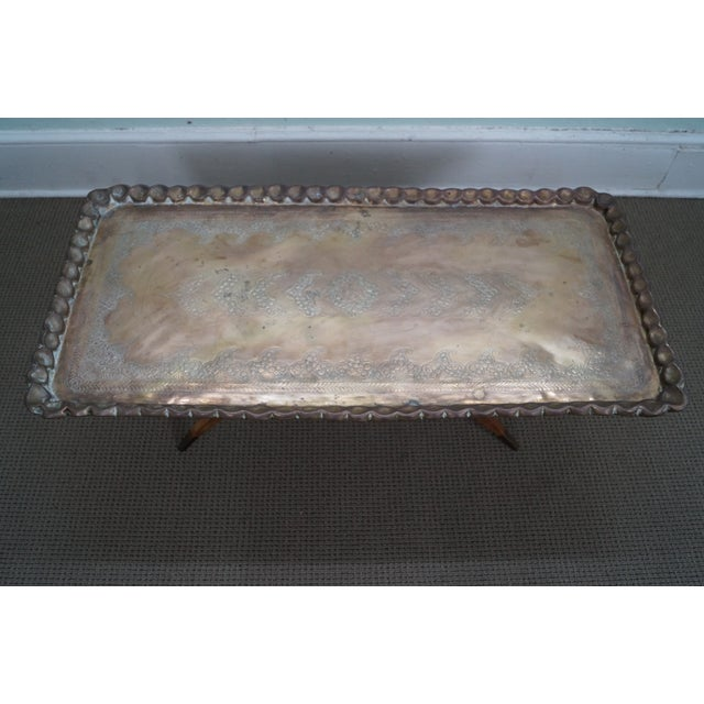 Incised Brass Scalloped Tray Top Coffee Table - Image 3 of 10