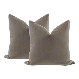 "22"" Dove Gray Velvet Pillows - A Pair"