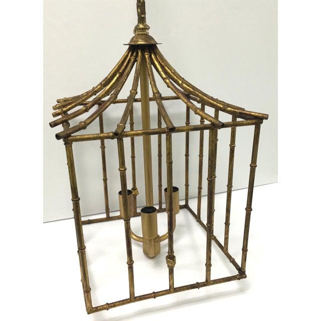 Italian Gilt Bamboo Birdcage Style Pendant Light - Image 4 of 7