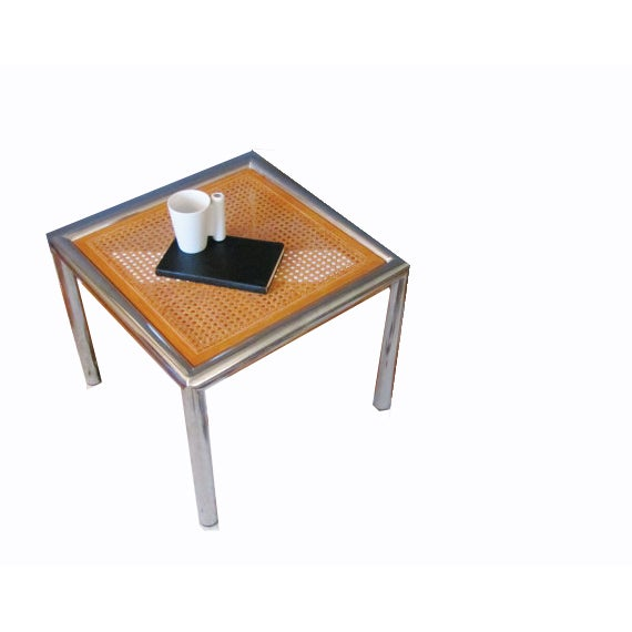 Cane And Chrome Side Table - Image 2 of 3