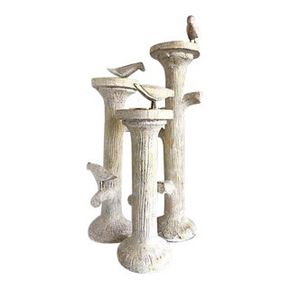 Faux Bois & Birds Candle Holders - Set of 3