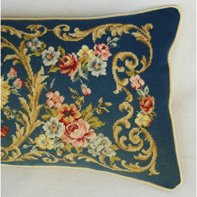 Custom 19th-C. French Needlepoint Floral Pillow - Image 9 of 11