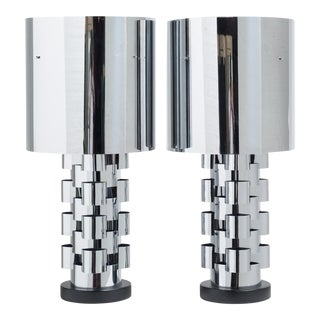 A Pair of Curtis Jere Nickel Lamps with Original Metal Shades