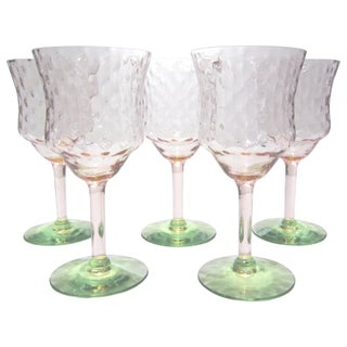 Pink & Green Stemware - Set of 5