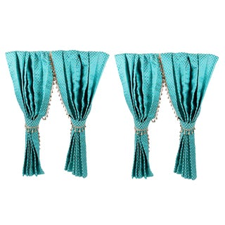 Two Pairs of Custom Turquoise Drapery Panels