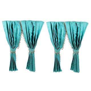 Two Pairs of Custom Turquoise Drapery Panels