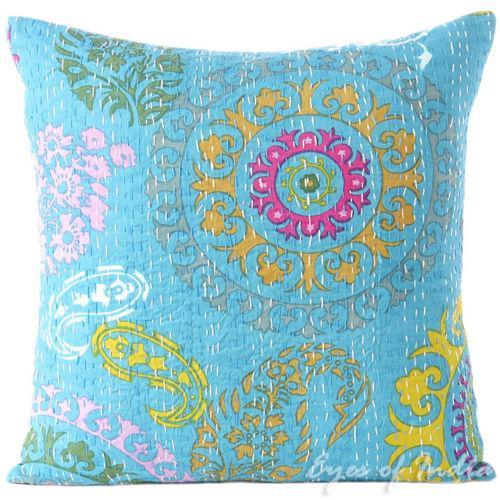 Turquoise Hand Block Kantha Throw Pillow - Image 1 of 2