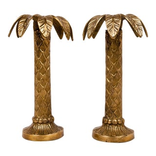 Brass Palm Tree Candle Holders, A Pair