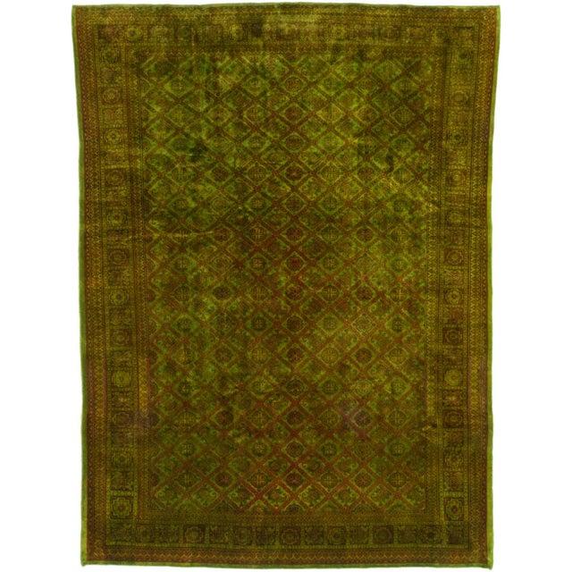 "Green Vintage Turkish Overdyed Rug - 7'4"" X 9'7"""