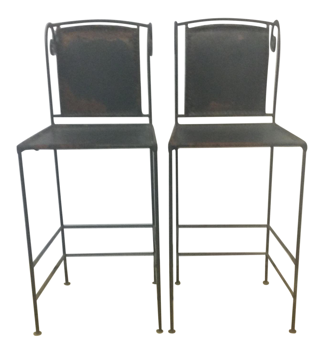 Vintage Iron And Leather Counter Stools A Pair Chairish