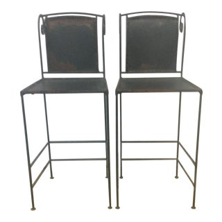 Vintage Iron and Leather Counter Stools - A Pair