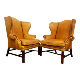 Ralph Lauren Antique Devonshire Leather Wingback Chairs - A Pair