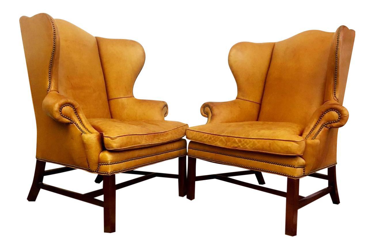 Captivating Ralph Lauren Antique Devonshire Leather Wingback Chairs   A Pair