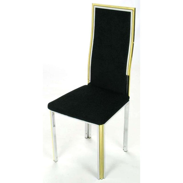 Six Chrome & Brass Dining Chairs Attributed to Romeo Rega - Image 4 of 8