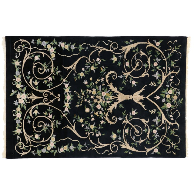 "Vintage Indian Black Field and Modern Aubusson Style Rug - 6' x 8'10"" - Image 4 of 4"