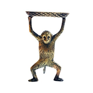 Vintage Brass Monkey Business Card Dish