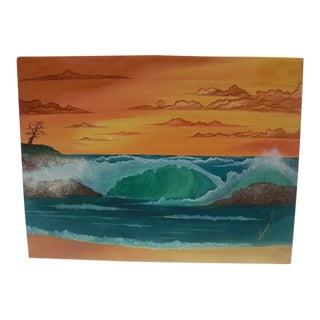 """""""Crashing Waves Seascape at Sunset"""" Painting"""