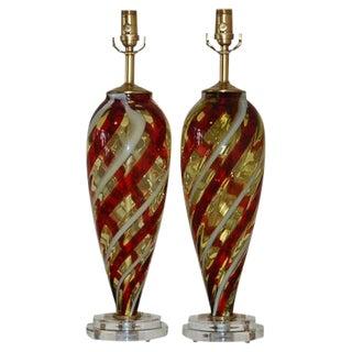 Butterscotch Striped Murano Lamps