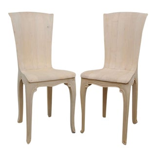 Exquisite Pair of Lime Wood Italian Side Chairs