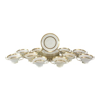 1900s Minton Tiffany & Co. Porcelain Gold Band Soup Bouillon & Saucers - Service for 10