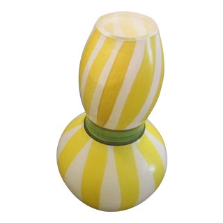 Modern Hand-Painted Kosta Boda Striped Glass Vase