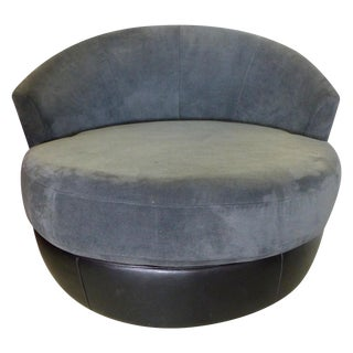 Milo Baughman Style Swivel Lounge Chair