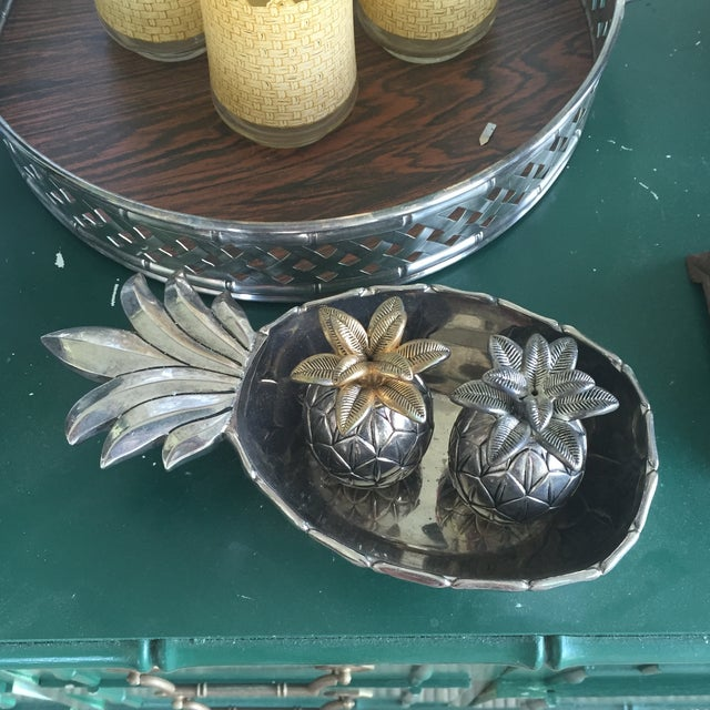 Vintage Silver Pineapple Bowl With Matching Pineapple Salt & Pepper Shaker Set - Image 10 of 10