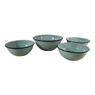 Blue Enamel Bowls - Set of 4
