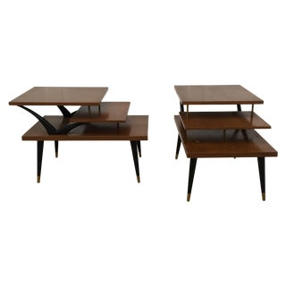 Mid-Century Three Tiered End Tables - A Pair