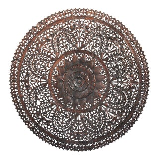 Dark Wax Carved Medallion Panel 60""
