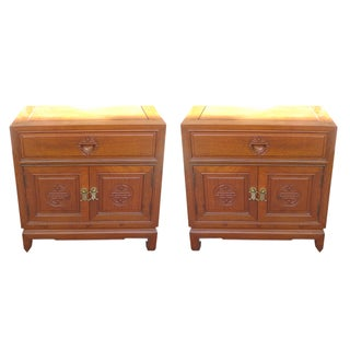 Chinese Mid-Century Rosewood Nightstands - Pair