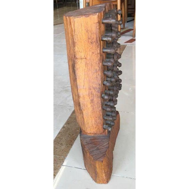 Image of Mid-Century Brutalist Wood Sculpture