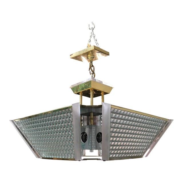 Fredrick Ramond Post Modern Square Brass & Glass Chandelier - Image 1 of 11