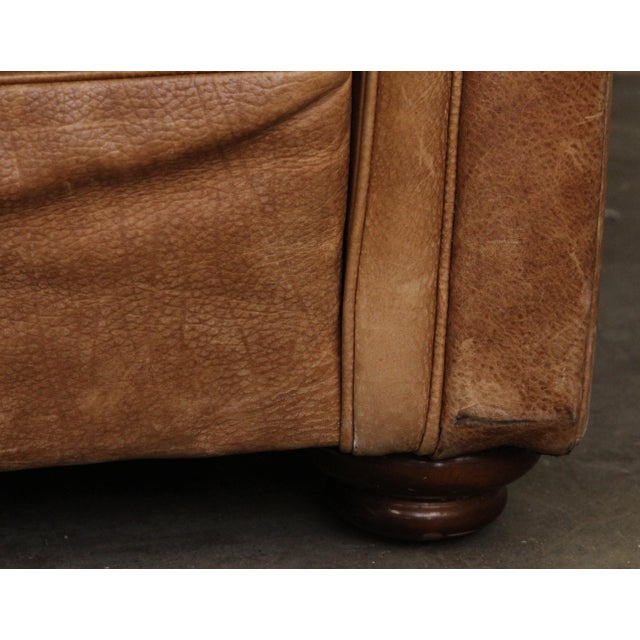 Large Vintage French Camelback Leather Couch - Image 7 of 9