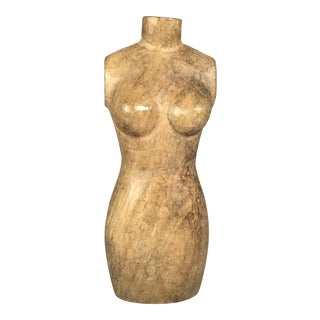 Vintage Carved Wood Mannequin Torso Paper Mache Mold/Sculpture