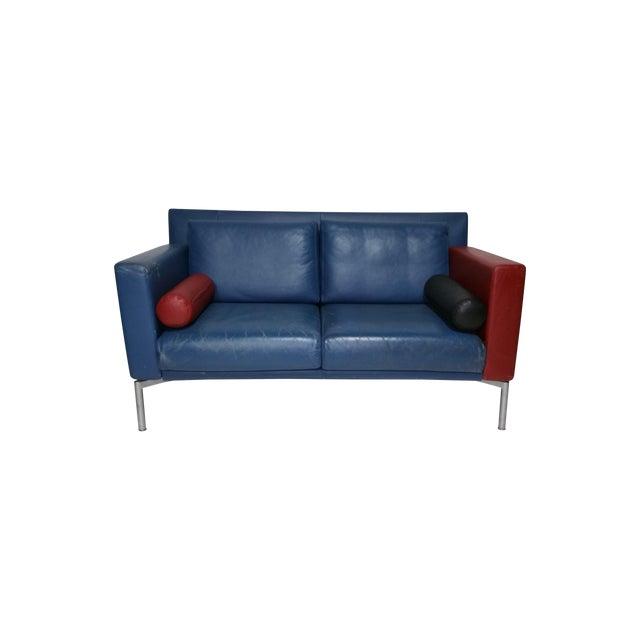 Vintage 1980s Italian Blue Leather Sofa - Image 1 of 10