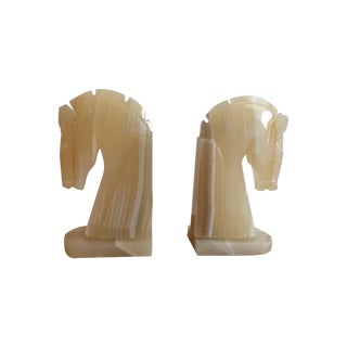 Vintage White Onyx Stallion Bookends - A Pair