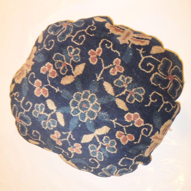 Image of Round Antique Chinese Rug Fragment Pillow