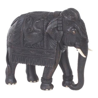 Antique Carved Anglo-Indian Elephant Figure