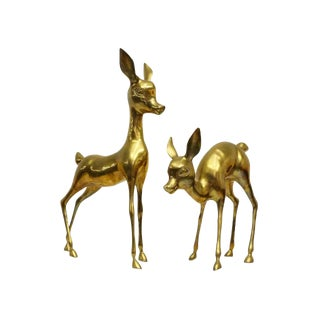 Vintage Brass Deer Floor Figures- Set of 2