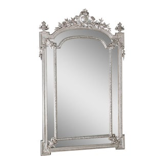 Antique French Napoleon III Silver Leaf Pareclose Mirror circa 1875