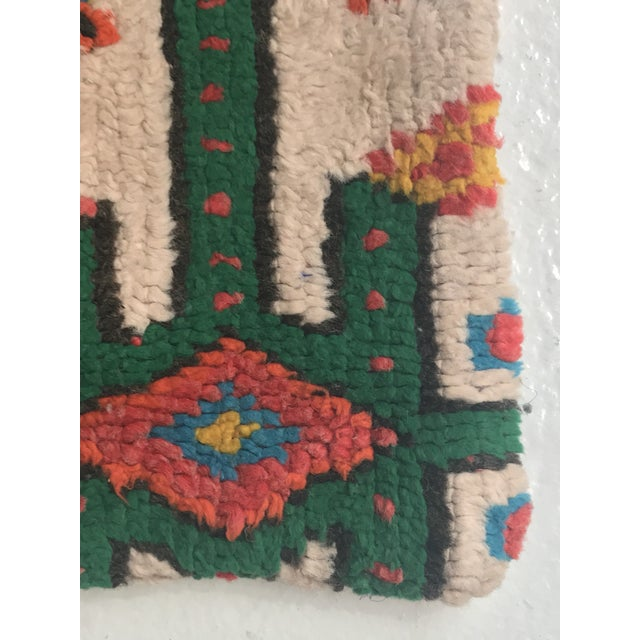 Stuffed Vintage 100% Moroccan Rug Wool Pillow Made in Marrakesh - Image 4 of 11