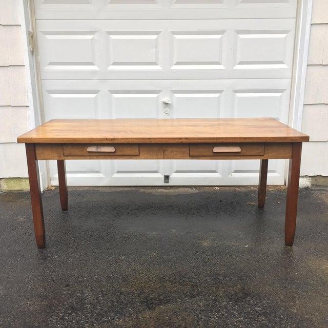 Large Vintage Modern 2-Drawer Desk - Image 2 of 11