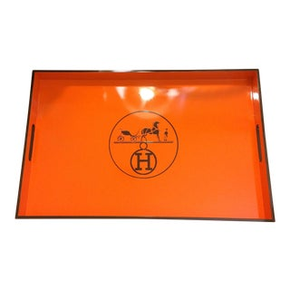 Vintage Hermes Inspired Orange & Brown Bar Tray