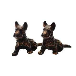 Antique Bronze Scottie Dog Bookends - A Pair